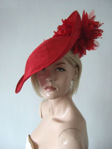 "Red Saucer Hat Headpiece Silk Roses Flowers Hat ""Fern"" Perfect Kentucky Derby Hat or Royal Ascot"